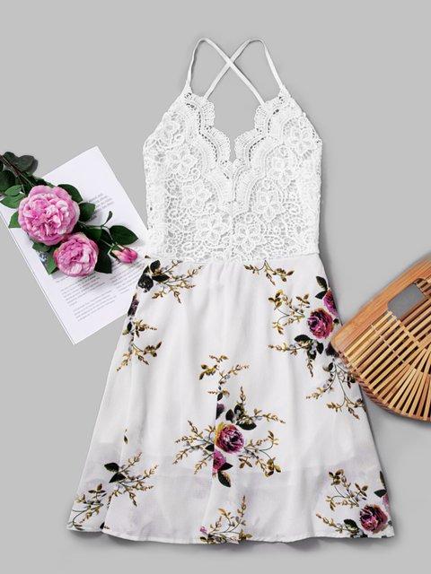 Guipure Lace Floral-Print Spaghetti White Beach Dresses