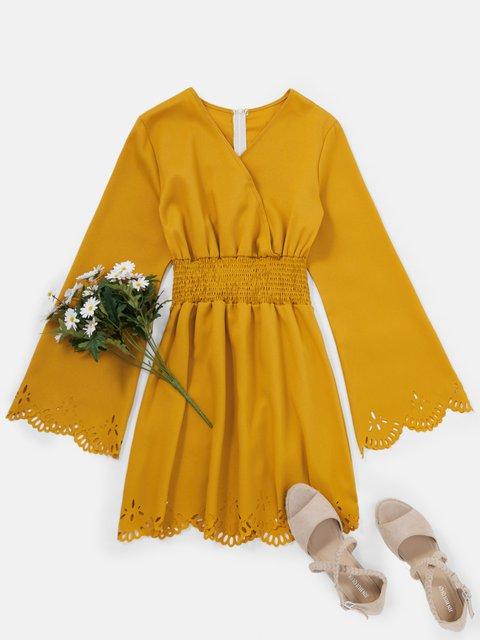 V Neck Women Dresses Daily Casual Gathered Dresses