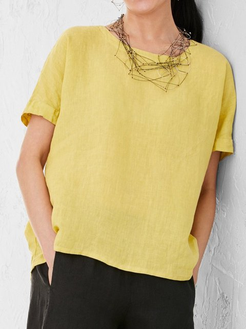 Summer Batwing Short Sleeves Solid Casual Blouses