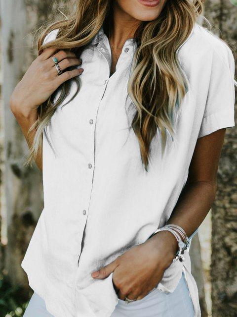 Women Cotton Pockets Casual Shift Shirts