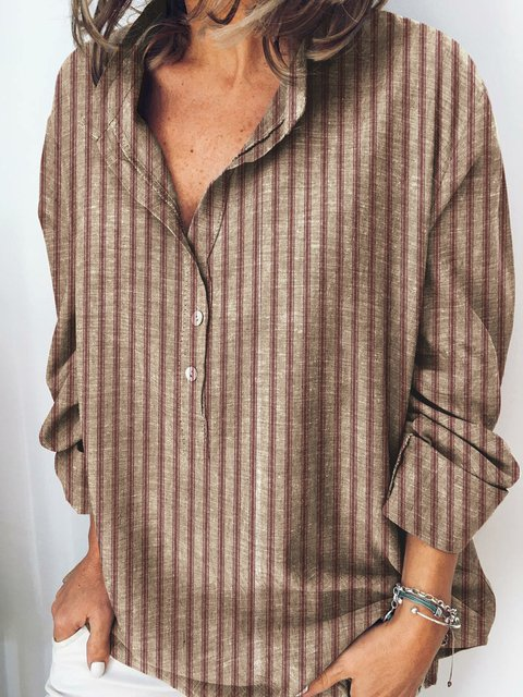 Coffee Long Sleeve Shirt Collar Casual Shirts & Tops