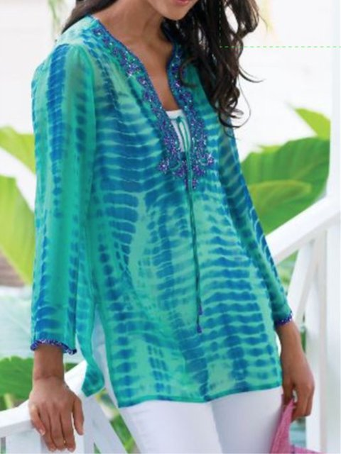 Women Plus Size Abstract Printed Crew Neck Casual Blouses