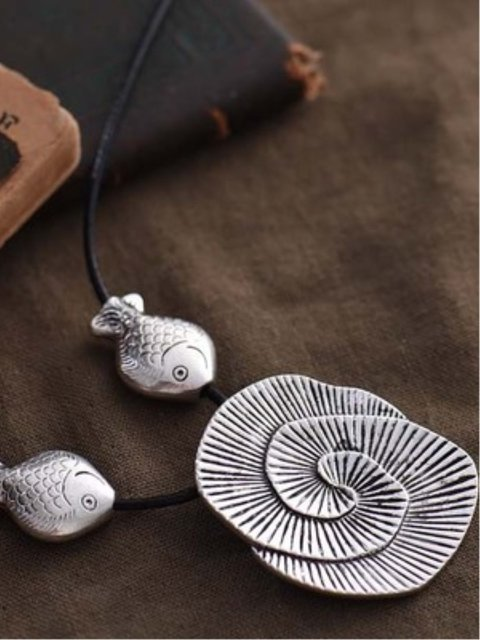 Silver Vintage Boho Fish Holiday Daily Alloy Necklace