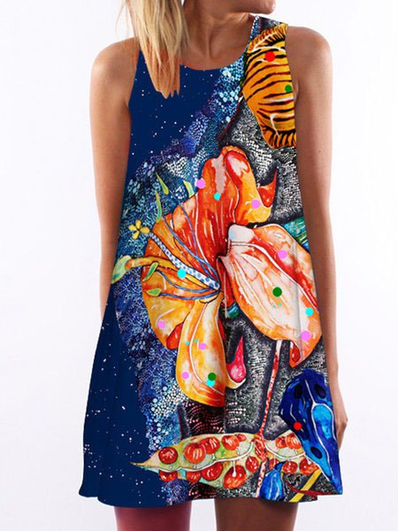 Blue Women Floral-print Dresses Swing Beach Dresses
