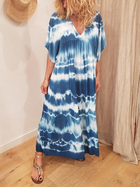 Plus Size Printed Abstract Shift Daily Cotton Midi Dresses