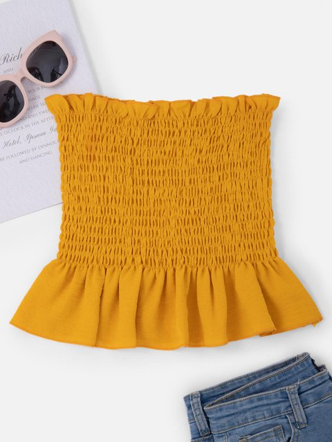 Hot Gathered Ruffled Off Shoulder Sexy Sweet Tops