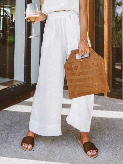Natural Linen Plus Size Loose Capri Pants With Pockets