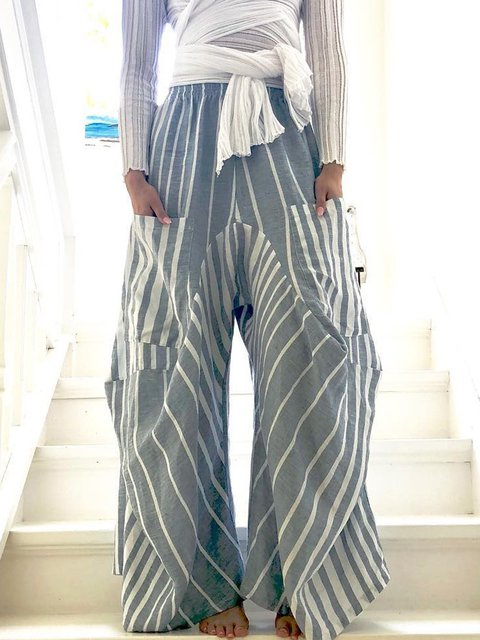 Printed Paneled Striped Boho Pants