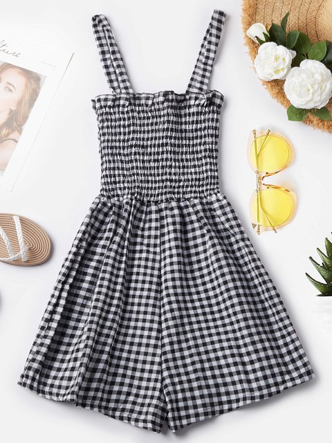 Summer Rompers Spaghetti-Strap Plaids Rompers