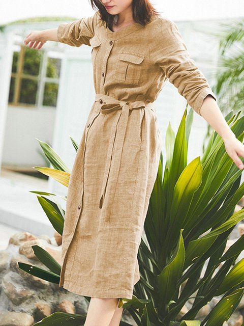 Stand Collar Women Dresses Going Out Cotton Pockets Dresses