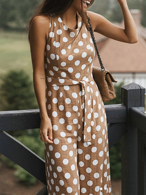 Polka Dots Plus Size Sleeveless Natural Pants Jumpsuits