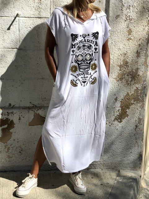 Casual Printed Hoodie Short Sleeve Pockets Dress