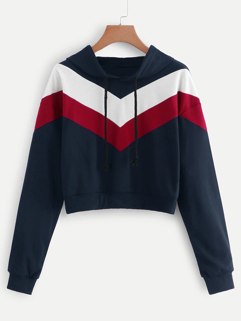 Color-block Hoodie Long Sleeve Drawstring Casual Sweatshirts