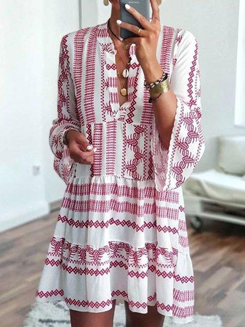Printed V Neck Dresses Beach Casual Geometric Dresses