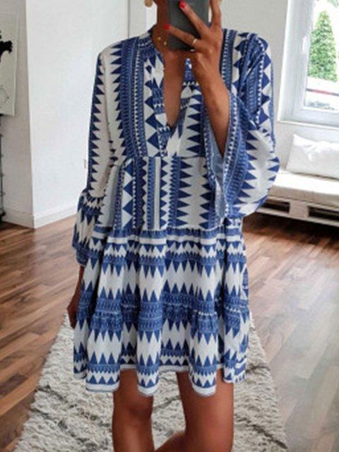 Vintage Summer 3/4 Sleeves Printed Basic Vacation Dresses