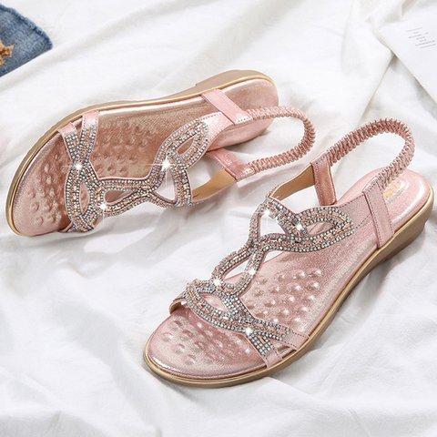 Women's Boho Shiny Comfy Casual PU Sandals
