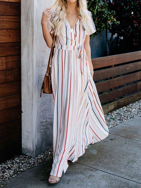V Neck Women Dresses Going Out Casual Stripes Dresses