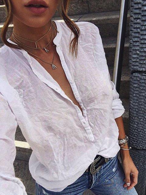 Long Sleeve Cotton-Blend Blouses
