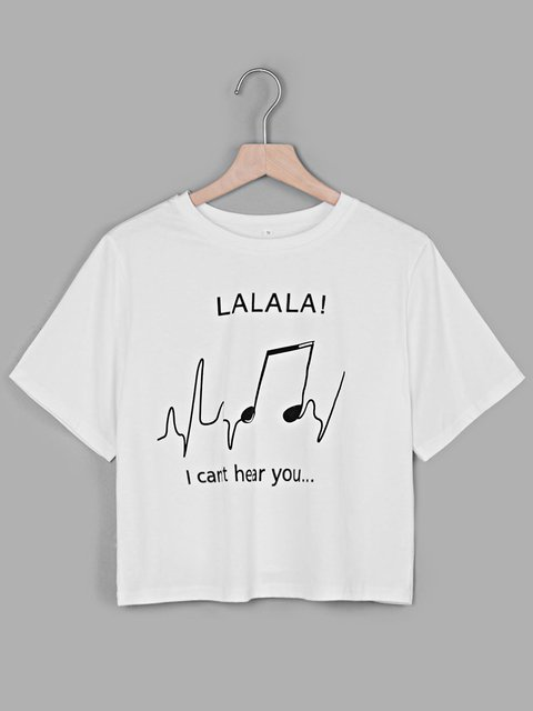 White Printed Music Note Letter Casual Crew Neck Short Sleeve Printed T-Shirts