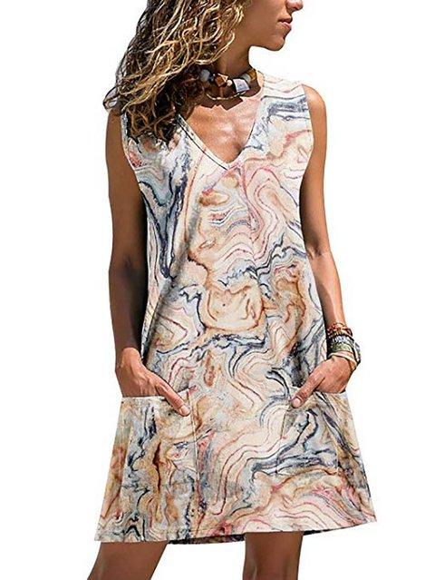 Women Mini Dress Abstract Printed Double Pockets Dress