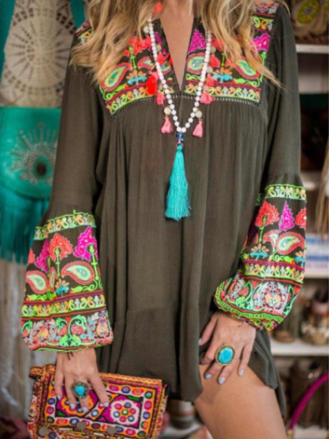 V Neck Women Spring Dresses Boho Dresses