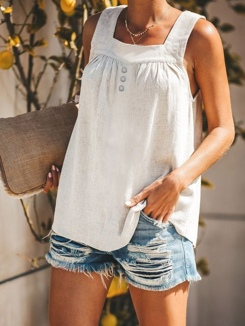 Sleeveless Casual Linen Shirts Blouses