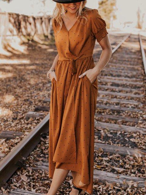 f73682f7201 Justfashionnow Polka Dots Dresses Maxi Dresses Plus Size Women Dresses  Formal Dresses 1 Shirt Dress Daily Shift V Neck Short Sleeve Elegant Pockets  Dresses