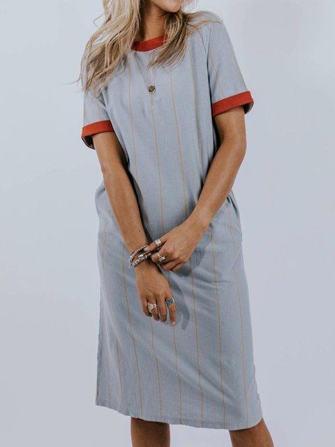 6459e7f237f Justfashionnow T-shirt Dresses Plus Size Women Dresses Sundress 1 Casual  Dresses Holiday Shift Crew Neck Simple Color-Block Short Sleeve Dresses