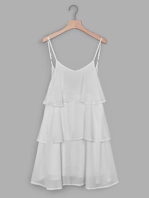 White Tiered Plain Spaghetti-Strap Ruffled Skirts