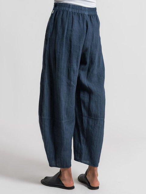 Pinstripe Casual Pockets Pants