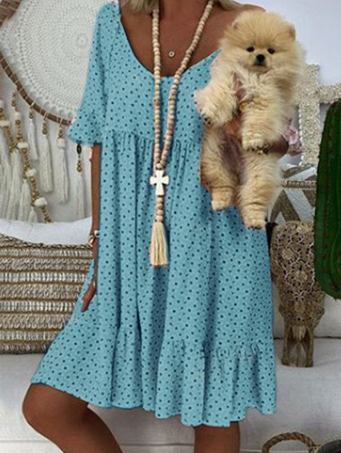 Women Summer Mini  Polka Dots Dresses V Neck Dresses