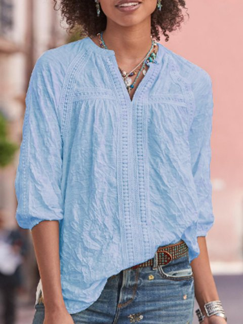 Solid V Neck Casual Shirts & Tops