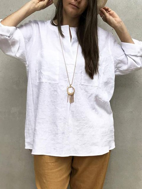 Crew Neck Solid Casual Blouse