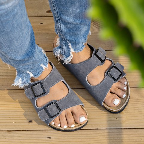 Open Toe Footbed Sandals Summer Buckle Leather Slippers