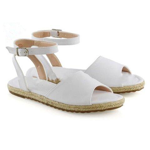 Comfy Flat Peep Toe Buckle Strap Espadrille Sandals