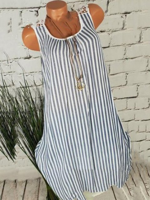 Women Stripes Midi Dresses Shift Daily Crew Neck Dresses