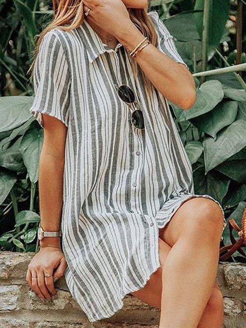 Shirt Collar Women Dresses Going Out Casual Stripes Dresses