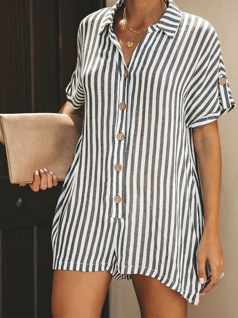 Buttoned Holiday Short Sleeve stripes One-Pieces