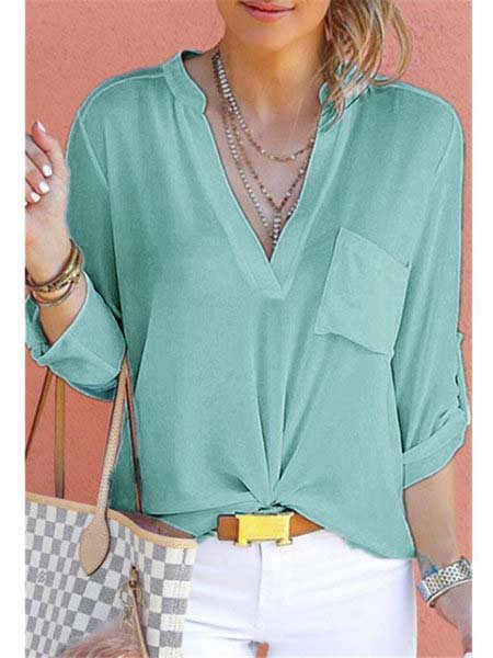 Chiffon Plain Casual V-Neck Shirts & Tops