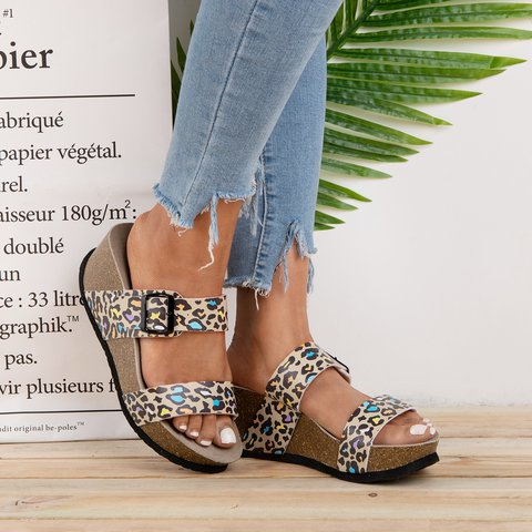 Buckle Slip-On Wedges Pu Wedge Heel Slippers