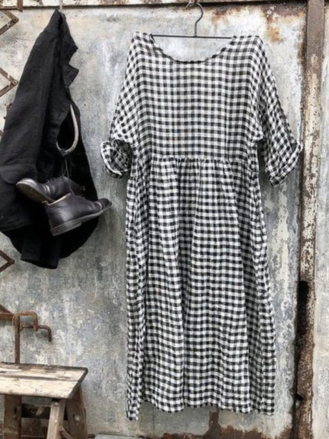 Checkered Casual Short Sleeve Dresses