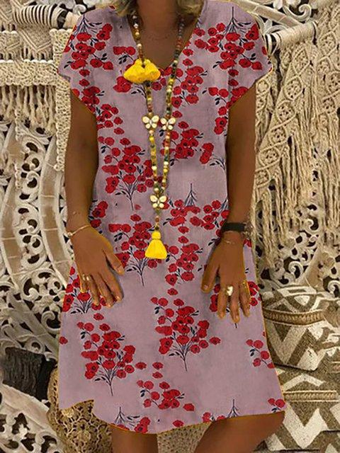 Vintage Boho Printed Short Sleeve Midi Dress