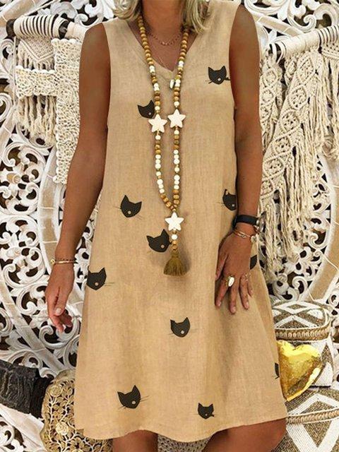 Cotton-Blend Casual Sleeveless Dresses