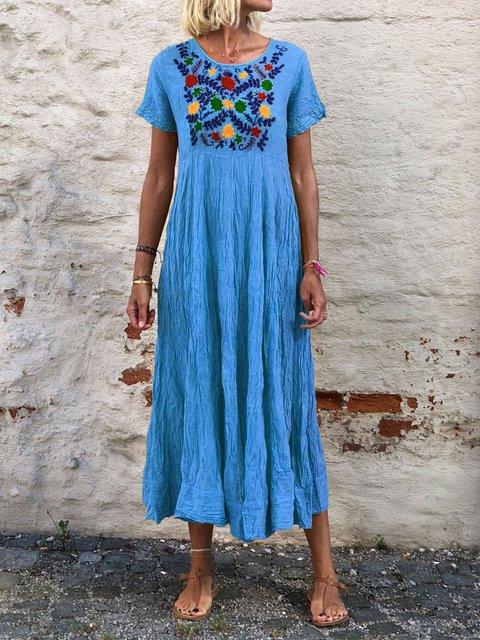Plus Size Summer Kaftans Floral Print Midi Dresses