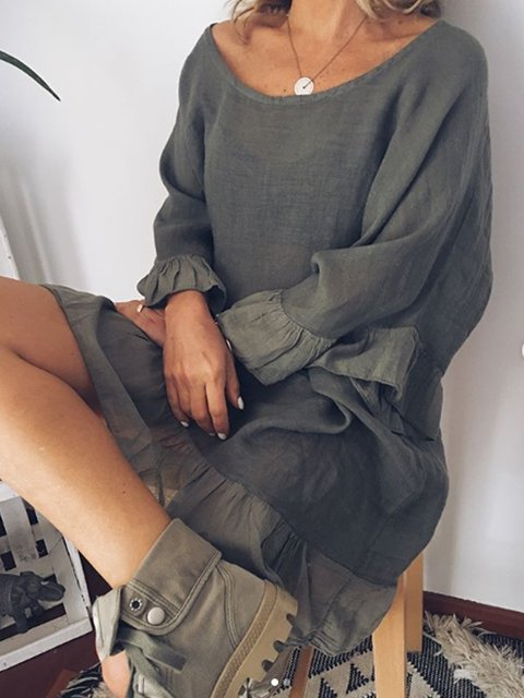 Gray Cotton-Blend Bell Sleeve Round Neck Dresses