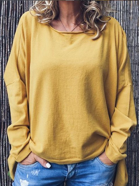 Yellow Casual Long Sleeve Round Neck Cotton-Blend Shirts & Tops
