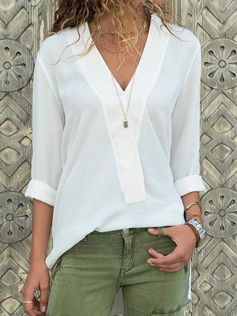 Women Chiffon Blouses Paneled Long Sleeve Chiffon V Neck Blouses