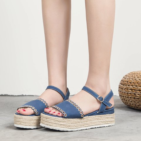 Women's Casual Open Toe Platform Espadrille Sandals