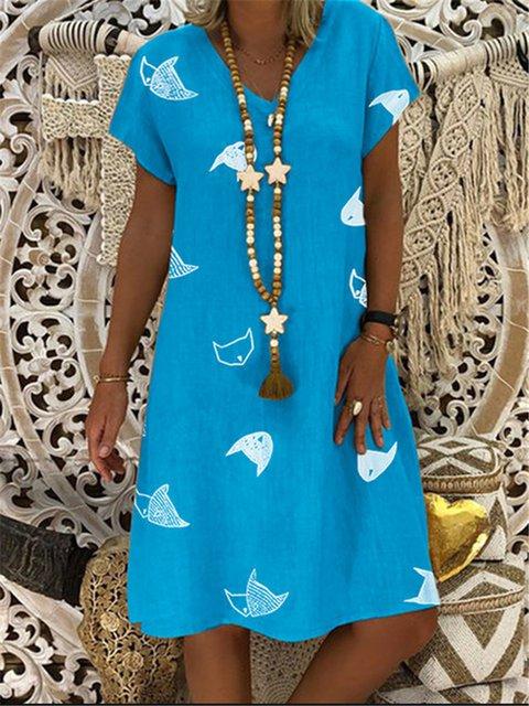 Plus Size V Neck Women Dresses Shift Vintage Holiday Dresses