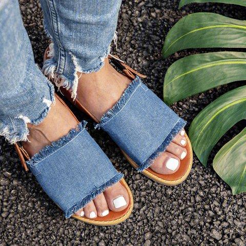 Denim Ankle Strap Sandals Low Heel Summer Sandals